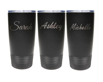 Modern Name Tumbler - Stainless Steel Laser Engraved with a Clear Lid - Choices of 12 - 20 - 30 ounce, Color, Name, Font & Spill Proof Lid