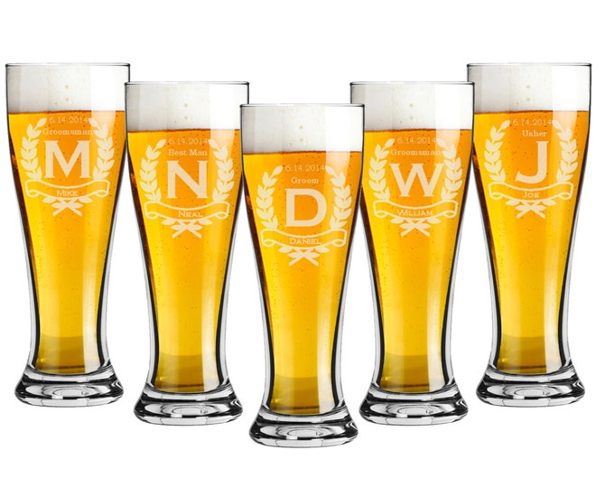 Groomsmen Gift - Pilsner 16 ounce Beer Glasses - Set of 7 - Choice of Design - Personalized Custom Engraved, Bridal Party, Bridesmaid Gift