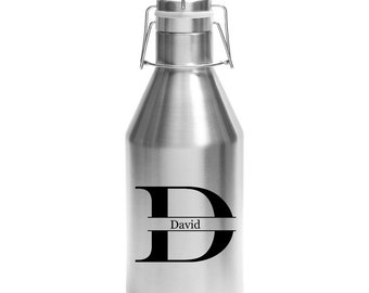 Name/Letter Growler 64 ounce Stainless Steel with a Swing Top Lid - Choice of Black or Brushed Silver, Name & Letter – Custom Engraved Gift