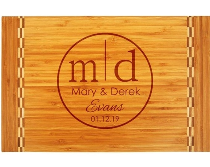 Family Design Butcher Block Cutting board made of Bamboo Custom Engraved with Choices of Name, Letter & Date