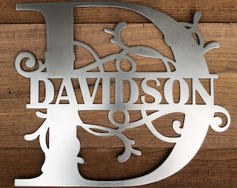 Monogram House Sign made of 16 Gauge Steel with Choices of Color, Family Name and Letter