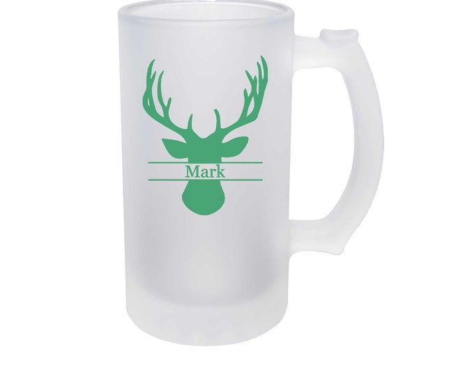 Elegant Full Color Deer Head Design on a Frosted Glass Beer Mug - 16 ounce - with Choices of Thirty-five Colors and Text - Dye Process
