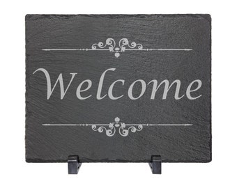 "Welcome - Slate 8"" x 10"" with Plastic Feet - Personalized Custom Engraved - House Warming, Anniversary Gift"