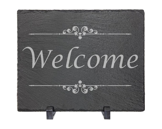 """Welcome - Slate 8"""" x 10"""" with Plastic Feet - Personalized Custom Engraved - House Warming, Anniversary Gift"""