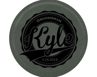 "Bride & Groom Wedding Coaster - 4"" Diameter Leatherette Custom Engraved - Choices of Four Colors, Seven Designs, Sold in Bulk Quantities"