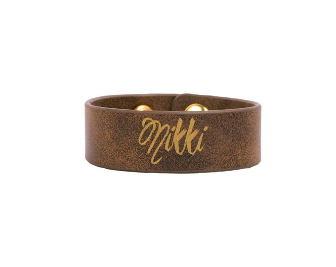 Wrist Bracelet including Choices of Color, Size, Text & Font - Personalized Laser Engraved