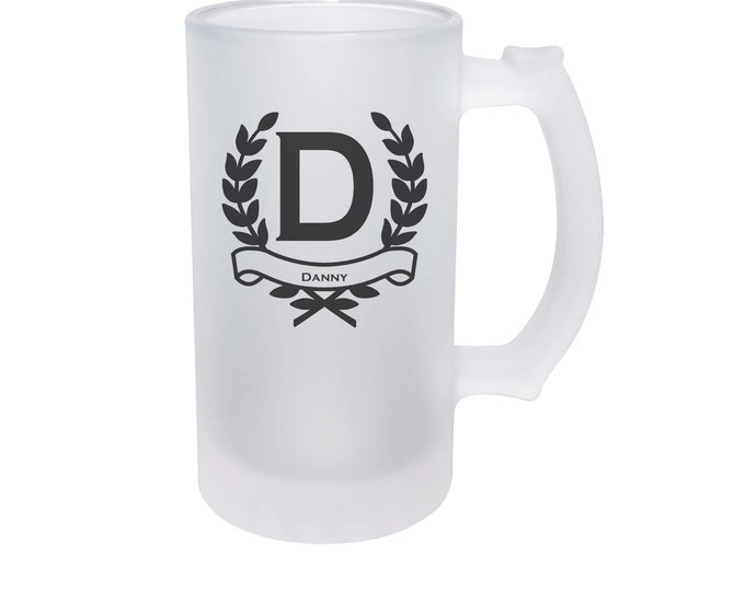 Groomsman Frosted Beer Mug made of Frosted Glass 16 ounce with Choices of Design Color, Letter and Name - Not a Vinyl Decal, Dye Process