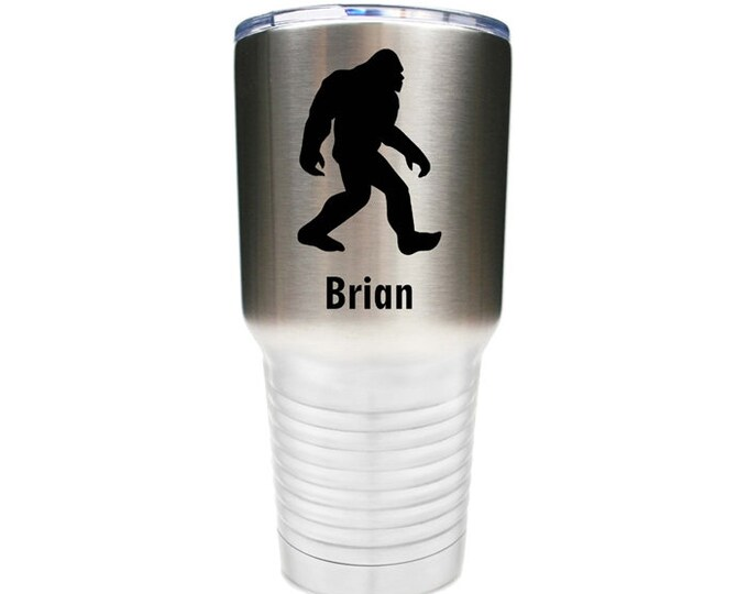 Big Foot Tumbler made of Double Wall Stainless Steel with a Clear Lid Custom Engraved - Choices of 10 - 12 - 20 - 30 oz, Color & Text