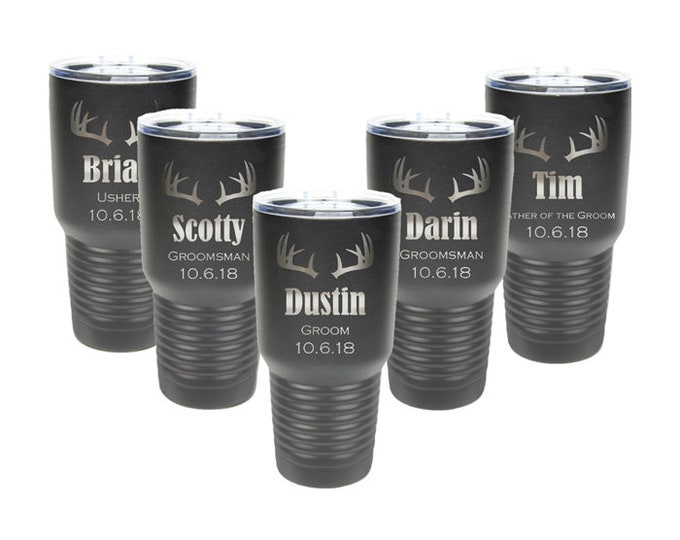 Groomsmen Tumblers - Set of 7 - Stainless Steel with a Clear Lid - 30 ounce - Custom Engraved - Choices of Color & Design