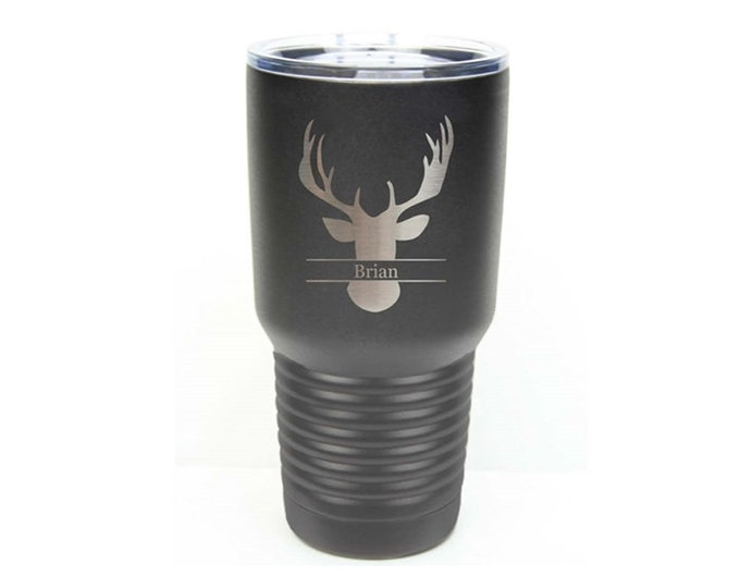 Deer Head Tumbler made of Stainless Steel Custom Engraved with a Clear Lid - Choices of Three Sizes of Tumblers, Twelve Fonts & Color
