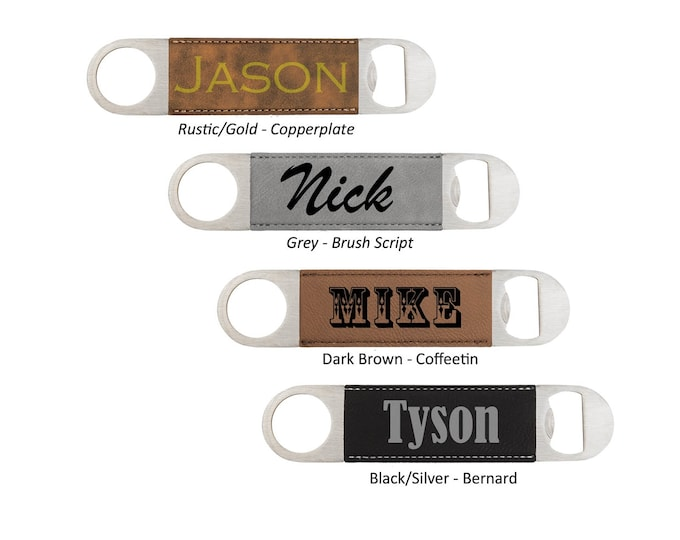 "Stylist Name Bottle Opener made of Stainless Steel 7"" Long & 1.5"" Wide Including Choices of Color, Font and Engraved Text"