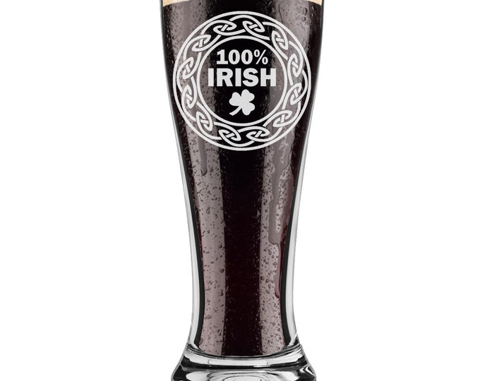 100% Irish St. Patrick's Day - 16 ounce - Pint Beer Glass