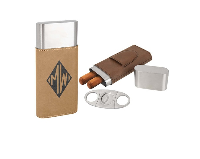 Cigar Case with Cutter made of Stainless Steel wrapped in Leatherette Laser Engraved including Choices of Seven Colors, Four Designs