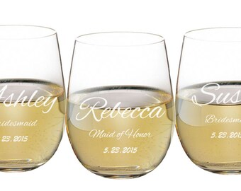 Stemless Wine Glasses, 17 oz Personalized Engraved, Toasting Glasses, Wedding Favor, Bride, Groom, Bridal Party Gift, ANY QUANTITY
