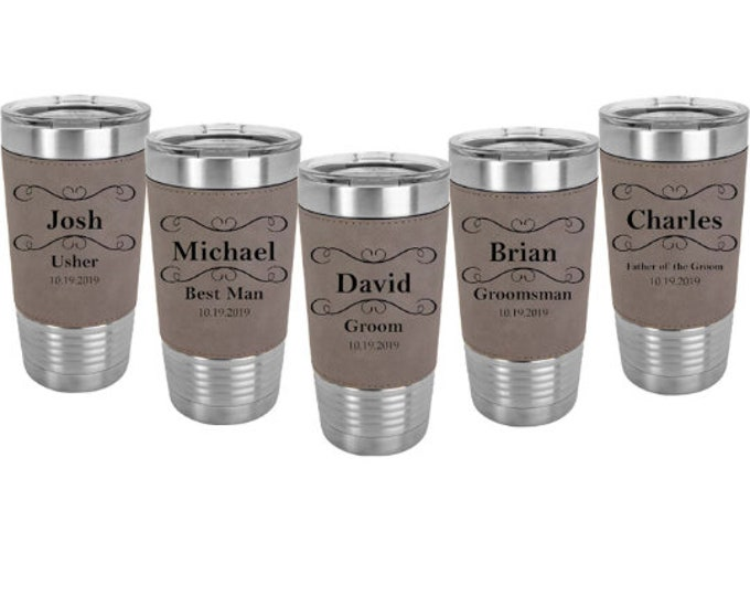 Groomsman Leatherette wrapped 20 ounce Stainless Steel Tumbler in Sets of 4 to 15 - Engraved w/Clear Lid including Choices of Color & Design