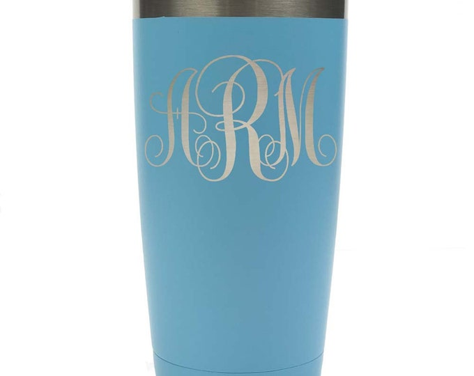 Monogram 3 Letter Tumbler - Stainless Steel with Clear Lid - Choices of 12 - 20 - 30 ounce, Color & Spill Proof Slide Lid – Engraved Gift