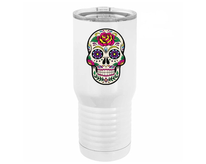 Sugar Skull Full Color 20 ounce White Stainless Steel Tumbler with a Clear Lid including Choices of Design, Text and Spill Proof Slide Lid