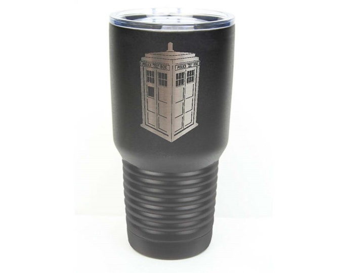 Dr. Who Inspired Tardis Police Box Stainless Steel Tumbler w/Clear Lid - Choices of 10 - 12 - 20 - 30 ounce, Colors, Name, Date & Font