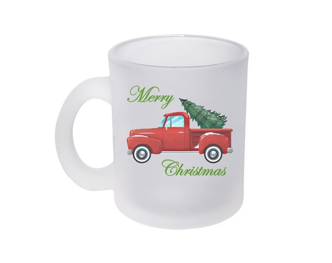 Red Pick Up Truck Frosted Glass Mug 10 ounce with a Christmas Tree including Choice of Text