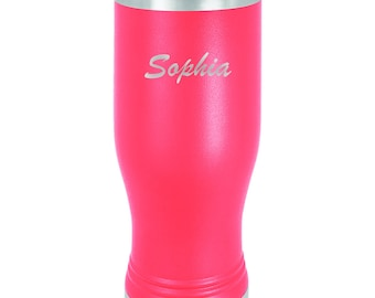 Name Tumbler - Stainless Steel w/Clear Lid Custom Engraved - Choices of 10 - 12 - 20 - 30 ounce, Color, Name, Date, Font & Spill Proof Lid