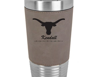 Longhorn Name Tumbler - Set of 2 to 15 - Stainless Steel 20 ounce with a Clear Lid - Custom Engraved - Choice of Colors, Text & Font