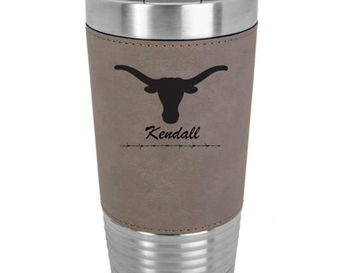Longhorn Name Tumbler - Set of 4 to 15 - Stainless Steel 20 ounce with a Clear Lid - Custom Engraved - Choice of Colors, Text & Font