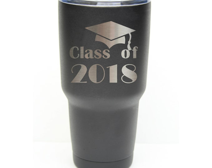 School Graduation Tumbler made of Stainless Steel 30 ounce with a Clear Lid Custom Engraved including Choices of Color and Spill Proof Lid