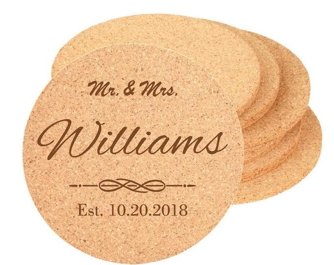 "Wedding Reception Coaster - 4"" Diameter Cork - Choices of Text, Four Designs, Bulk Quantities - Custom Laser Engraved"