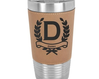 Letter Name Tumbler - 20 ounce - with Clear Lid - Choices of Color, Name, Letter & Spill Proof Lid - Custom Engraved - Holiday Gift