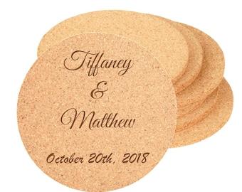 "Wedding Reception Cork Coaster - 4"" Diameter - Choices of Text, Four Designs, Bulk Quantities - Custom Laser Engraved"