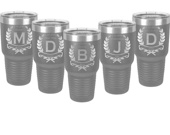 Sets of 2 to 15 Groomsman Tumblers 30 ounce Stainless Steel Custom Engraved with a Clear Lid including Choices of Design, Color and Text