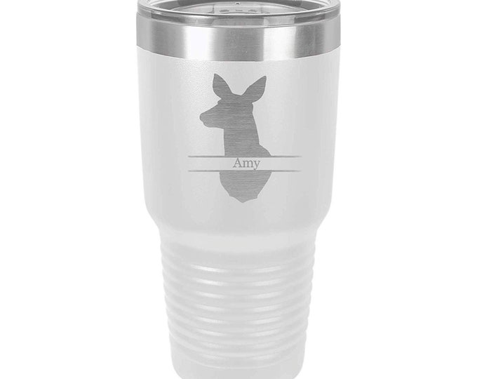 Doe Head Engraved Design Tumbler Stainless Steel with a Clear Lid - Choices of Color, Font, Four Sizes of Tumblers & Spill Proof Lid