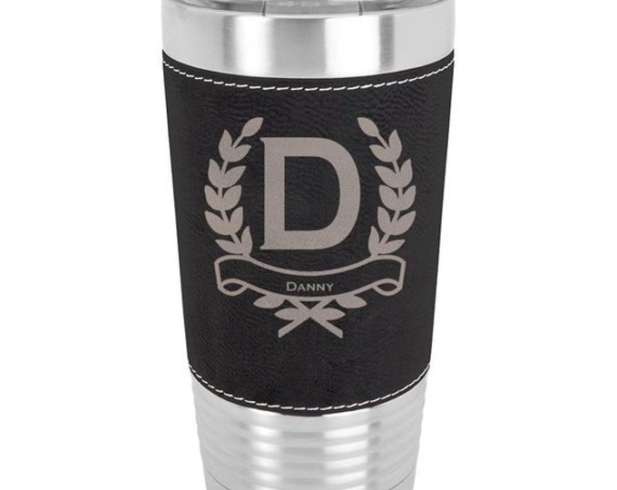 Wreath Name Tumbler - 20 oz with Clear Lid - Choice of Color, Name, Letter & Spill Proof Lid - Custom Engraved