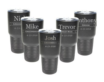 Bridal Party Tumbler 30 ounce made of Stainless Steel Laser Engraved with a Clear Lid including Choices of Color & Design