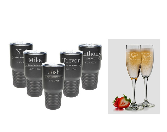 Wedding Party Gift - 6 oz Futes & 30 oz Stainless Steel Tumblers - Set of Tumblers 4 to 15 - Engraved - Choice of Color and Design