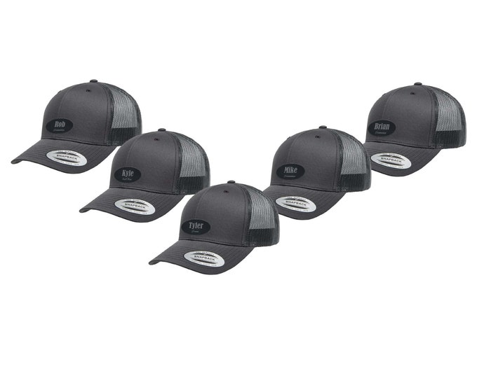 Groomsman Trucker Hat - Mesh Back with Patch Custom Engraved including Choices of Hat Color, Patch Color, Name and Title