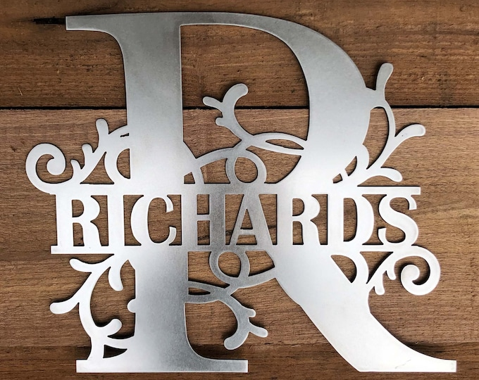 Family Name House Sign made of 16 Gauge Steel with Choices of Twelve Colors, Name and Letter