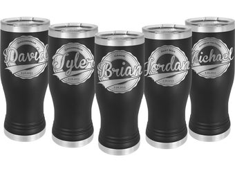 Wedding 20 oz Pilsner shaped Tumbler in Sets of 4 to 20 Stainless Steel Custom Engraved with a Clear Lid - Choice of Color, Design and Name