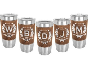 Leatherette wrapped Stainless Steel 20 ounce Tumbler in Set of 4 to 15 - Custom Engraved with a Clear Lid - Choices of Color & Eight Designs