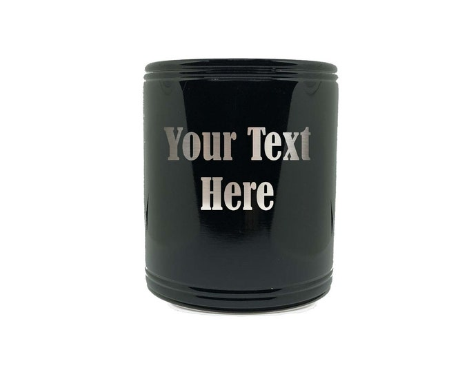 Beverage Can Holder made of Stainless Steel with a Foam Interior Custom Engrave including Choices of Text, Four Colors and Twelve Fonts