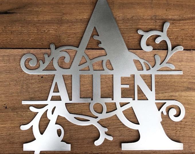 Monogram House Sign, Door Monogram, Front Door Decor, Powder Coated, Family Name, Metal Letters,
