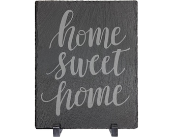"""Home Sweet Home Table Sign - Slate 8"""" x 10"""" with Plastic Feet - Personalized Custom Engraved - House Warming, Anniversary Gift"""