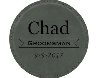 "Wedding Coaster - 4"" Diameter Leatherette - Choices of Four Colors, Seven Designs, Text, Bulk Quantities - Custom Engraved"
