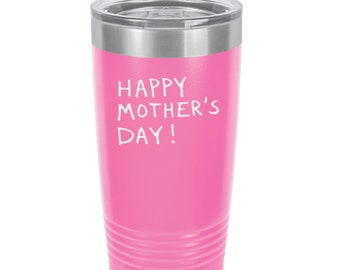 Mother's Day Tumbler - Stainless Steel w/Clear Lid - Choice of 12 - 20 - 30 ounce, Design, Color, Name, Font & Spill Proof Lid - Engraved
