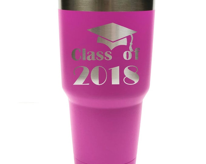 Graduation Gift - 30 oz - Stainless Steel Tumbler with Clear Lid - Personalized Custom Engraved - Choices of Color and Spill Proof Slide Lid