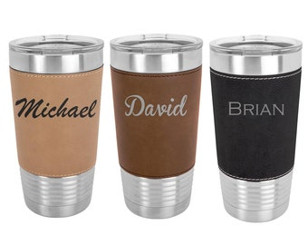 Monogrammed Name Tumbler - 20 ounce Leatherette wrapped with a Clear Lid - Choices of Color, Letter & Spill Proof Lid - Custom Engraved
