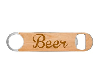 Beer Bottle Opener made of Stainless Steel wrapped in Wood or Leatherette Laser Engraved Including Choice of Twelve Colors and Twelve Fonts