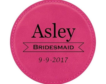 """Bride & Groom Wedding Coaster - 4"""" Diameter Leatherette Custom Engraved - Choices of Four Colors, Seven Designs, Sold in Bulk Quantities"""