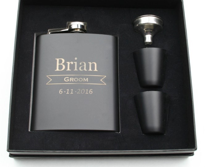 Groomsmen Set of 8 Personalized Black Stainless Steel 7 ounce Hip Flask, Custom Engraved Design with Gift Box - Monogrammed - Wedding Party