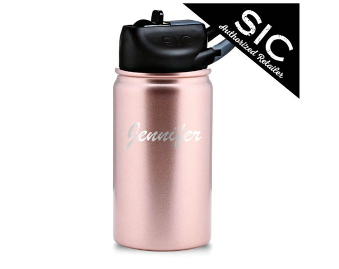 Lil SIC 12 ounce Water Bottle - Stainless Steel - Leak Proof Carabiner Flip Straw Lid - Choice of Color, Name & Date - Custom Engraved